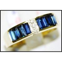Blue Sapphire Natural For Men Diamond 18K Yellow Gold Ring [RQ0013]