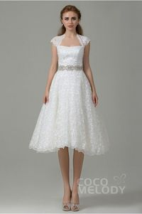A-Line Sweetheart Natural Tea Length Tulle and Lace Ivory Sleeveless Zipper Wedding Dress