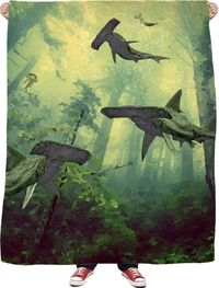 Hammerhead Forrest Fleece Blanket $65.00