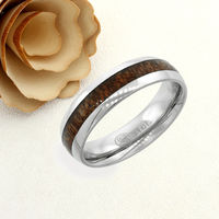 Stainless Steel Wedding Band Men Women, 6mm Wood Inlay Band, Stainless steel Promise Ring Men Women, Stainless Steel Band Ring $47.00