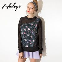 Vogue Sexy Seen Through Split Front Scoop Neck Floral Fall 9/10 Sleeves Hoodie - Bonny YZOZO Boutique Store