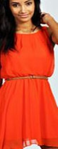 boohoo Sleeveless Chiffon Belted Skater Dress - orange Nineties revival reigns supreme with the spaghetti-strap slip dress stealing the what's hot top spot. Feminine, floaty fabrics and floral prints are our fave, with midi lengths a must-have. Go b...