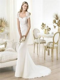 Mermaid v-neck cap lace sleeves with sweep train wedding dress