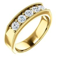 certified-5 stones men's wedding band in white/yellow gold/platinum $799.00