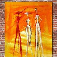 Hand Painted Beautiful Ladies Oil Painting On Canvas
