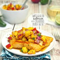 Sweet Glazed Salmon with Peach Salsa - The Cookie Rookie
