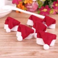 Pack of 10 Tiny Santa Hats. Christmas Tree Decoration. Xmas Party Table Topper. £4.69