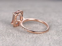 6X8MM EMERALD CUT MORGANITE AND DIAMOND ENGAGEMENT RING 14K ROSE GOLD HALO STACKING RING