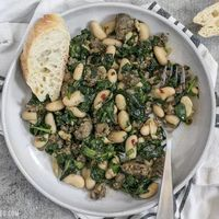 It doesn't get easier than this high protein, high fiber, high FLAVOR Italian Sausage and White Bean Skillet! Step by step photos.