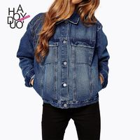 Autumn ladies ' new casual slim cropped denim jacket long sleeves women - Bonny YZOZO Boutique Store