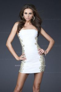 Ruched Mini Length White Stretch Net Dresses for Homecoming Formal