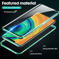 Bakeey Metal Magnetic Adsorption Flip 360º Curved Screen Front+Back Double-Side Tempered Glass Full Body Protective Case for Huawei Mate 30 Pro