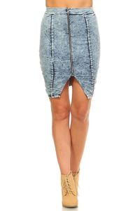 Women's Front Zipper Triangle Denim Skirt $21.00