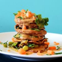 Thai Sweet Potato Stacks with Peanut Sauce - vegan