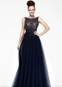 High Neck Beaded Fitted Bodice Navy Long Prom Gown