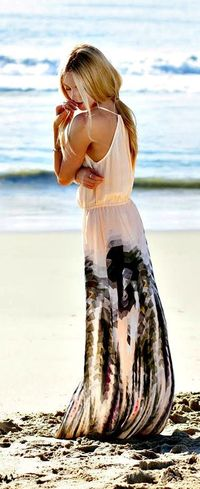 Summer beach printed maxi dress.