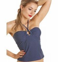Camille Womens Ladies Navy Blue Polka Dot Swimwear Tankini Top Size 10-18 14 Nautical navy and white spot print with gold effect ring detail to enhance the sophisticated look. Available in sizes 10, 12, 14, 16,18<br /gt (Barcode EAN = 5050535372504...