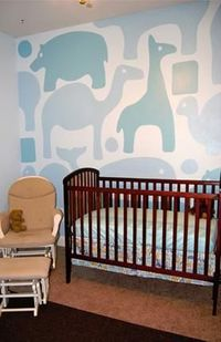 great painted wall mural for a nursery -- simple animals and shapes #nursery #paint