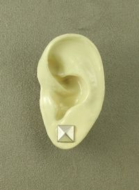 9 mm Square Pewter Silver Magnetic Non Pierced Earrings $25.00 Designed by LauraWilson.com