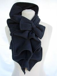 Sooo cute!!! Would love this in red! Ruffled Bow Scarf Fleece MADETOORDER Black Red Dark by nikkisic, $35.00