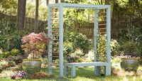 Garden bench with arbor. DIY. I'd make it wider.