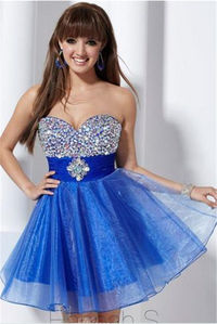 Short Blue Glittering Beaded Chiffon Prom Dresses
