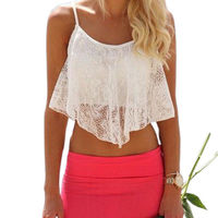 Summer Style Crop Top Sexy Women Lace Floral Hollow Out U Vintage Crop tops Sportswear $7.10