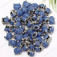 50p Blue Crystal Skull Spacer Charm European Fashion Beads