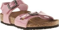 Birkenstock Pale Pink Rio Girls Toddler Her name is Rio and she dances in the sand! This Birkenstock sandal is ready to take care of small feet on holiday, both home and away. The pink patent upper features secure buckles and sits on a leat http://www.com...