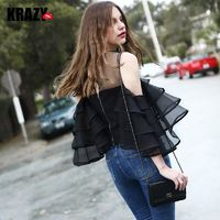 Elegant Frilled Sleeves Off-the-Shoulder Multi Layered Girlish Top - Bonny YZOZO Boutique Store