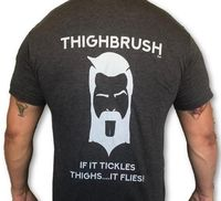 "THIGHBRUSH® - ""If it Tickles Thighs....It Flies!"" - Men's T-Shirt - Heather Charcoal and Light Grey"