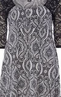 Dorothy Perkins Womens Izabel London Black White Lace Eastern Black White lace eastern print dress. Square neckline. 3/4 sleeves. Unfastened. Length 84cm. 92% Polyester,8% Elastane. Cold hand wash. Do not dry clean. http://www.comparestoreprices.c...