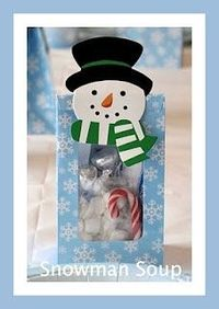 Snowman Soup When the snowmen get real chilly, they make a yummy brew. Here's their secret snowman soup mix. You can make some too! Pour the Cocoa. Add hot water. Stir with the peppermint stick. Toss in kisses and marshmallows. It's sure to do the...