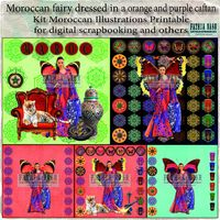 """Kit of 5 Moroccan Illustrations Printable """"Moroccan fairy dressed in a caftan orange and purple"""" for digital scrapbooking and others �'�3.00"""