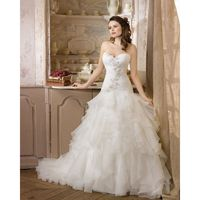 Simple A-line Sweetheart Beading Lace Sweep/Brush Train Organza Wedding Dresses - Dressesular.com
