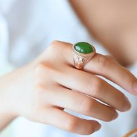 Rose gold ring women -Inlaid ring - Green jasper ring - Jasper rings for women - Green Jasper Ring - Jewelry For Woman
