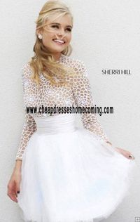 Long-Sleeve Ivory/Nude High Neck Short Style A-Line Homecoming Dress Cheap Unique Sherri Hill