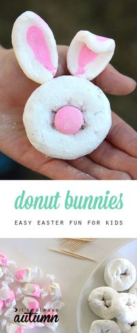 These easy mini donut bunny rabbits are the perfect Easter craft and treat for kids. What a fun spring activity! Only two ingredients.