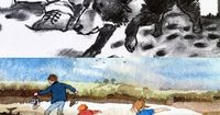 Illustrations from 'We're Going on a Bear Hunt'.