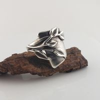 Silver Leaf Ring, Wide Sterling Silver Band with Leaves, Modern design with leaves and stems, Handmade by Dawn $125.00