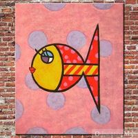 Abstract Fish Hand Painted On Canvas Oil Painting