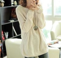 LEISURE OVERSIZE PURE COLOR BATWING SLEEVE KNIT SWEATER