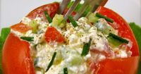 Tomato with cottage cheese, cucumber, green onion and pepper. Fresh lunch! kc