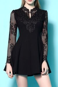 Black long sleeved lace goth dress I like this but maybe knee length for bridesmaids