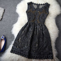 Vintage Embroidery Crochet Hollow Out Sleeveless Gathered Waist Tank Dress