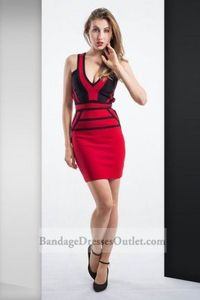 Hot Sale V Neck Fitted Red Black Bandage Short Skirt