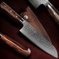 Chef's Knife Santoku Kitchen Knife Home Cooking Tool Leather Scabbard $188.50
