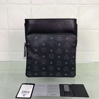 MCM Small Ottomar Visetos Flat Messenger In Black