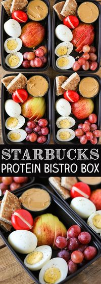 One of my favorite healthier on the go lunch or breakfast ideas is a Starbucks Protein Bistro Box. They recently updated it with even more protein by adding an
