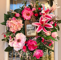 Pink Home Sweet Home Wreath- Pink Floral Wreath $160.00
